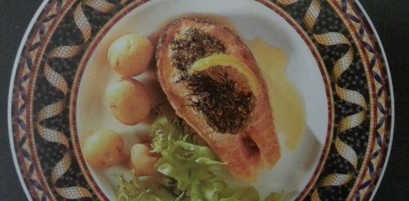 шотландский лосось с зеленым маслом